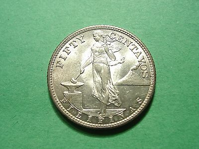 Philippines 50 Centavos 1944 S Silver Coin Brilliant Uncirculated