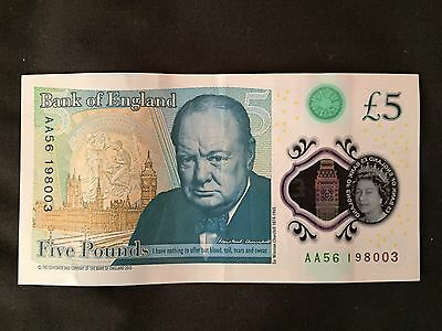 Polymer £5 note  AA56 198003