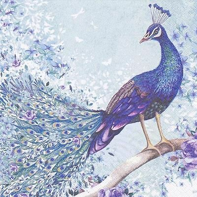 4 x Paper Napkins - Peacock on Branch - Ideal for decoupage / Napkin Art