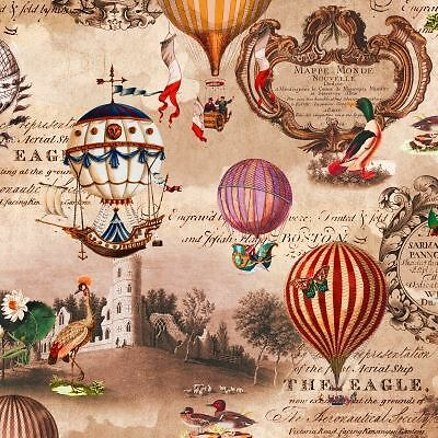 4 x Paper Napkins - Vintage Hot Air Balloons - Ideal for decoupage / decopatch
