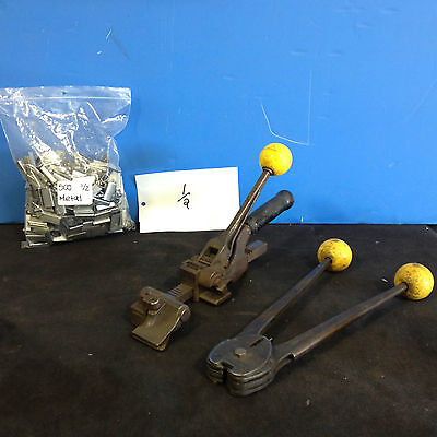 strapping Tensioner / Manual Sealer / 500 Clips 1/2″ **OPEN**