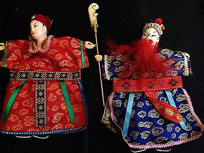 "2 Vintage Asian culture Chinese theater opera Hand Puppet Dolls-silk-12""-used-"