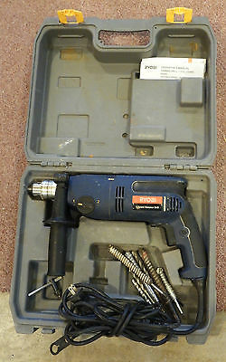 """Ryobi D550H 1/2"""" 2 Speed Hammer Drill with Handle,Case 10 Bits & Key."""
