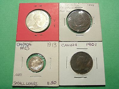 CANADA lot of 4 Scarce Coins with Silver