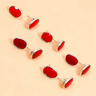 Superb Coral 6 Pc Sterling Silver Plated Wholesale Earring Lot  M0808