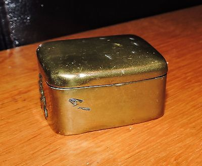 Vintage Small Brass Box with Hinged Lid