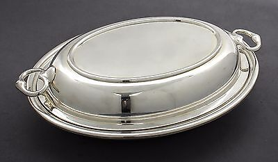 Art Deco silver plate oval two-handle lid entrée dish double tureen W Suckling