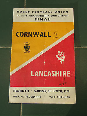 Redruth rugby programme Cornwall v Lancashire 8th march 1969