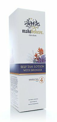 New MakeBelieve Colour Self Fake Tan Lotion Bronzer Golden Tan Zone 4 200ml