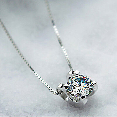 925 Sterling Silver Chic Squre Shape Shiny Crystal Necklace Pendant Girl Gift