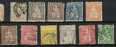 switzerland old stamps 1860s onwards Seated Helvetia to  unused / used useful
