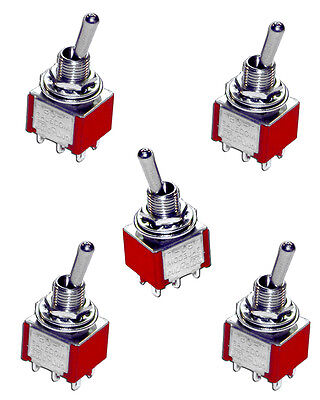 5 X DPDT Toggle Switches On-Off-(On)