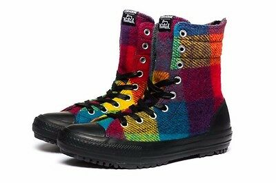 5f50dc3c793 Converse by Woolrich Chuck Taylor Hi Rise Boots Rainbow Plaid Pride Women s