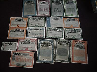 COLLECTION OF 17 RAILROAD AND RAILWAY SHARE CERTIFICATES USA Cincinnati Chicago