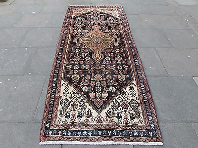 Old Traditional Persian Wool Blue Oriental Hand Made Long Rug Runner 300x120cm