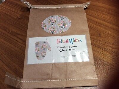 NEW Betty & Walter 100% Cotton Oven Glove Flower Bed British Clouds~Tulips/Grey