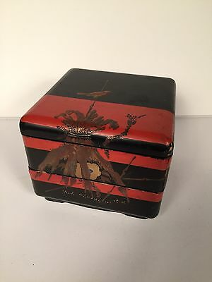 JUBAKO Makie Lacquered 2 Tier Wooden Dish BENTO Box Japanese Vintage