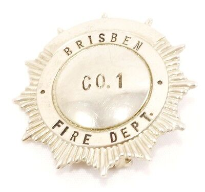 Sterling Silver Brisben Fire Department Pin Vintage Chenango County NY 925 e
