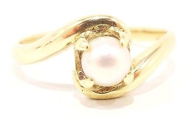 10k Solid Gold Pearl Ring Simple Lovely Delicate Can Be Sized Free Shipping