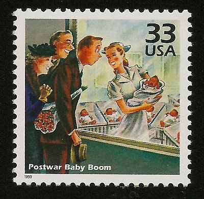 Saturday Evening Post Postwar Baby Boom Maternity Ward Obstetrics Nurse Stamp !