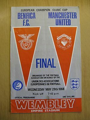 """Manchester United V Benfica F.c. European Champion Clubs Cup Programme """"final"""""""