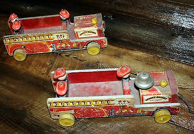 2 Vintage 1954 Fisher Price Winky Blinky Firetruck Pull Toy