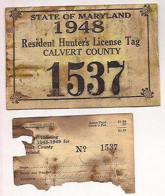 1948 VINTAGE CALVERT COUNTY MARYLAND HUNTING TAG  LICENSE and REGISTRATION