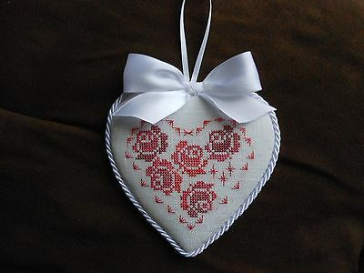 Completed finished Rose valentine heart cross stitch ornament