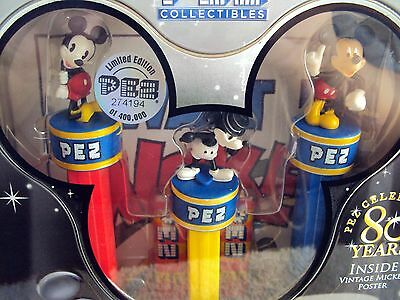 NEW SEALED PEZ Mickey Mouse 80 Years 2007 3 Pez Dispensers & Mickey Poster