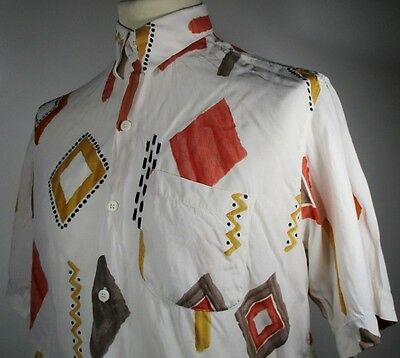 "Vintage Mens 80s Funky African Style Print Shirt MEDIUM 42"" (40-42)PRICE REDUCED"