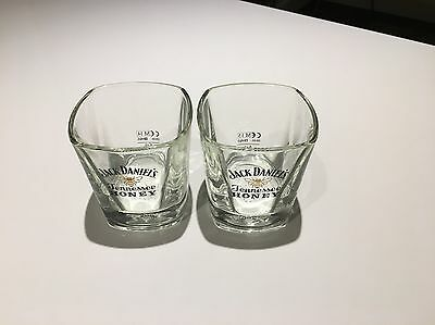 A Pair of New, Unboxed, Jack Daniels Honey Square  Glass Tumblers