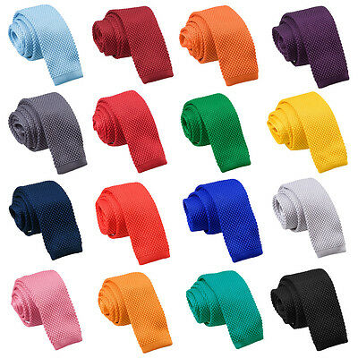 Mens Knitted Polyester Plain Colour Square Cut End Tie - Evening Dance Party DQT