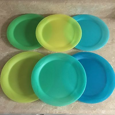 Set Of 6 Tupperware Multicolored Open House Dinner Plates 11""