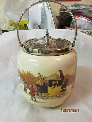 Royal Doulton Series Ware Coaching Days Biscuit Barrel Silver Plate Top/lid