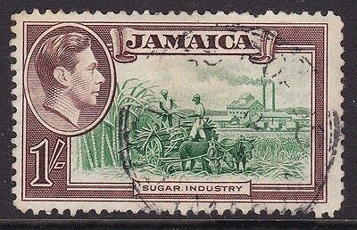 "Jamaica 1938 1S Green & Brown ""repaired Chimney"" Variety, Cds Used, Cat £110"