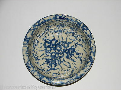 unusual odd unknown Blue Splatter speckled bowl heavy thick old FREE SH