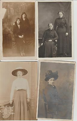 Four (4) x Edwardian Ladies In Fashions Of Day Real Photograph Postcards c1910s