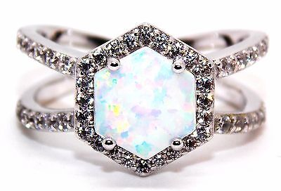 Sterling Silver Fire Opal And Diamond 4.84ct Ring (925) Size 7 (N)