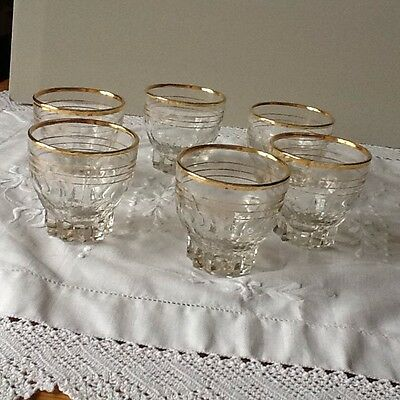 Six Vintage Small Gold Rimmed Glasses