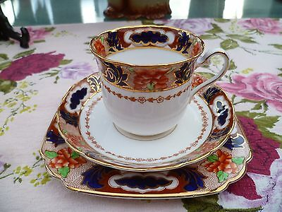 Vintage BCM Tuscan English China Trio Tea Cup Saucer Cobalt Blue Floral 9351