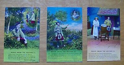 SET OF 3 BAMFORTH SERIES NO 4708 Queen amang the Heather. Good unused