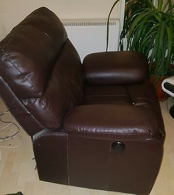 Electric Brown Leather Armchair Sofa Lounge Chair