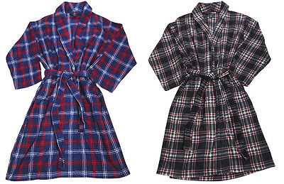 Mens Soft Fleece Plaid One Size Fits Most Long Sleeve Lounge Bathrobe