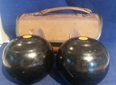 Vintage Pair Lawn Bowls by Thomas Taylor, Glasgow. Lignoid?  In carry case. No2