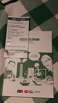 Plymouth v Liverpool FA Cup programme and ticket