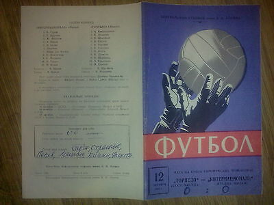 Programme Torpedo Moscow USSR Russia - Inter Milan Italy 1966-67 European Cup