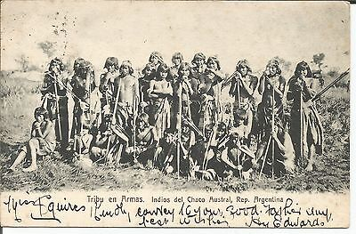 Postcard Armas Tribe Indios del Chaco Austral Argentina South America
