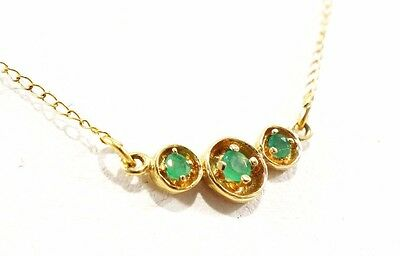 """14k Solid Gold Emerald Necklace Great for Children 16"""" Chain Length Free Ship"""