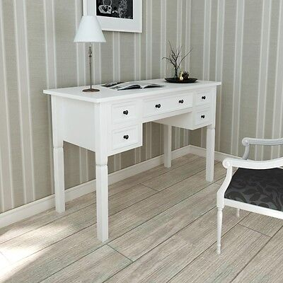 New White Writing Desk with 5 Drawers Made of Pine for Bedroom and Office Paint
