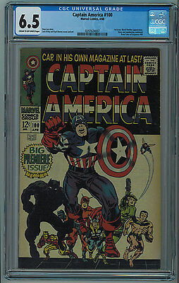"Captain America #100 Cgc 6.5 ""1St Issue"" Kirby Art Ow/w Pages 1968"